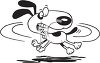 Black and White Dog Cartoon of a Dog Chasing His Tail clipart