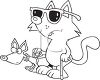 Black and White Dog Cartoon of a Blind Cat with a Seeing Eye Dog clipart