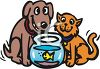 Cat, Dog and Goldfish Friends clipart
