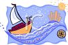 Whimsical Sailboat Headed for New York clipart