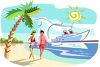 Couple Walking on a Tropical Beach with a Cruise Ship Behind Them clipart