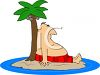 Fat Man Sitting on a Deserted Island clipart