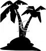 Silhouette of Palm Trees on an Island clipart