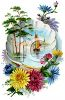 Ship Sailing in a Seashell with Beautiful Flowers clipart