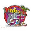 Shark and Friends on a Party Icon with a Palm Tree clipart