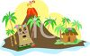Island with a Volcano and Hut clipart