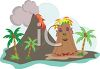 Volcano on a Tropical Island clipart