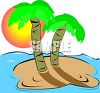 Palm Trees on a Desert Island in the Ocean clipart