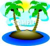 Cartoon of a Desert Island with Palm Trees clipart