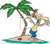 Cartoon of a Guy Yelling for Help on a Desert Island clipart