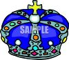 Cartoon of a Blue Crown with a Cross on Top clipart