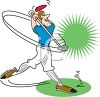 Cartoon of a Guy Hitting a Golf Ball Off Tee clipart