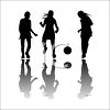 Silhouette of Teens Playing Ball clipart