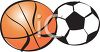 Cartoon Basket Ball and Soccer Ball clipart