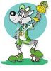 Cartoon Wolf Soccer Player Holding Up a Trophy clipart