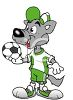 Cartoon Wolf Soccer Player Holding a Soccer Ball clipart