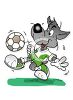 Cartoon Wolf Kicking a Soccer Ball clipart