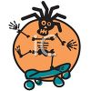 Rasta Skeleton Riding a Skateboard clipart