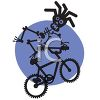 Rasta Skeleton Riding a BMX Bike clipart