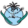 Rasta Skeleton on Skis clipart