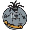 Rasta Skeleton Riding a Snowboard clipart