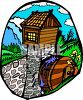 Rural Rock Dam with a Wooden Water Wheel clipart