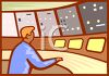 Man Working in the Control Room of a Dam clipart