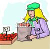 Girl Buying Apples  clipart