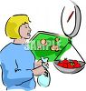 Woman Weighing Tomatoes at the Supermarket clipart