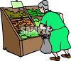 Old Woman Looking at Vegetables at the Grocery Store clipart