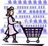 Woman Pushing a Shopping Cart in a Grocery Store clipart
