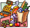 Groceries on the Counter of a Check Out Stand in the Supermarket clipart