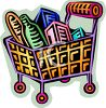 Cartoon Shopping Basket Full of Food clipart