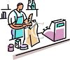 Clerk Bagging Groceries at a Check Out Stand clipart