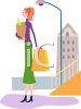 Tall Kinny Woman Standing on a Corner with Grocery Bags clipart