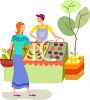 Woman Buying Produce at an Outdoor Market clipart