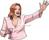 Woman Holding a Glass of Wine Waving clipart