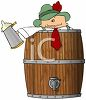 Drunk German in a Keg of Beer clipart