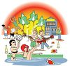 Cartoon of Young People Having a Party at the Beach clipart