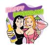 Happy Birthday Message with Two Pretty Girls and Drinks clipart