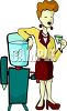 Office Worker Standing by the Water Cooler clipart