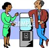 Co-Workers Chatting by the Water Cooler clipart