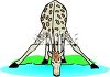 Giraffe Drinking from a Pond clipart