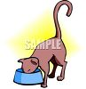 Cat Drinking From Her bowl clipart