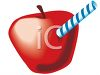 Apple with a Straw in It clipart