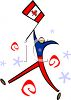 Stylized Character Holding a Canadian Flag clipart