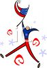 Stylized Character Holding an American Flag clipart