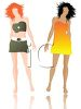 Two Beautiful Young Women Wearing Short Dresses clipart