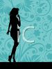Silhouette of a Sexy Girl on a Paisley Background clipart