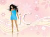 Young Woman Wearing a Short Dress on a Floral Background clipart